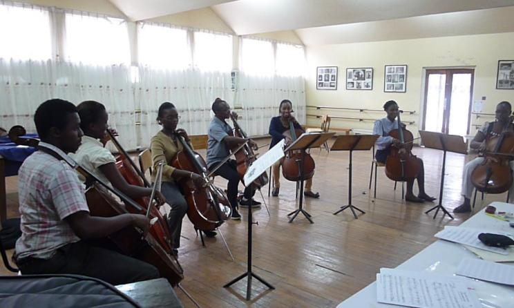 Cello students of the Kenya Conservatoire of Music.