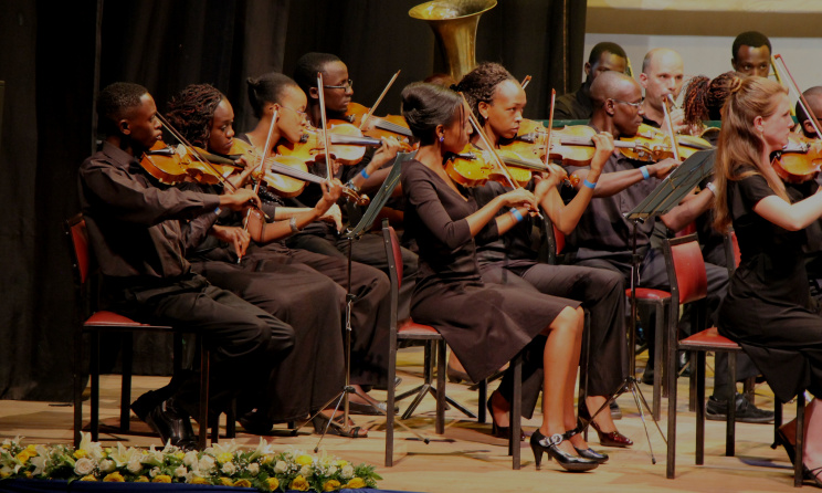 A section of the Symphony Orchestra of the Kenya Conservatoire of Music performing.