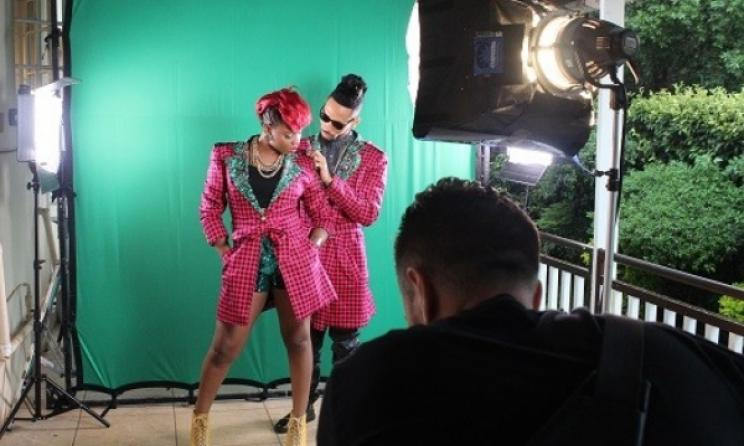 Nigerian stars Yemi Alade and Phyno shooting the video for 'Taking Over Me'. Photo: Facebook