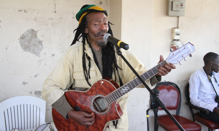 Ali 'Rastaman' Magobeni performing at The GoDown Arts Centre, Nairobi. Photo: Ketebul Music