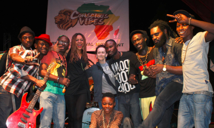 Performers at Conscious Vibes gather for a photo