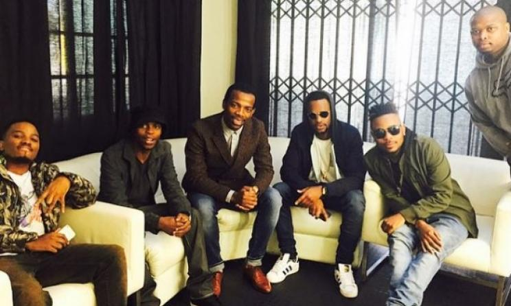 Zakes Bantwini (centre) meeting with top SA rappers. Photo: Instagram