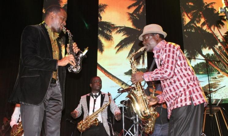 Moses Matovu and Isaiah Katumwa during a performance. Photo: www.mushroominc.biz.wordpress.com