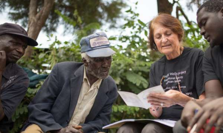 Philip Cheruiyot, whose grandfather sang on Hugh Tracey's recording of 'Chemirocha II', with Diane Thram. Photo: Ryan Kailath