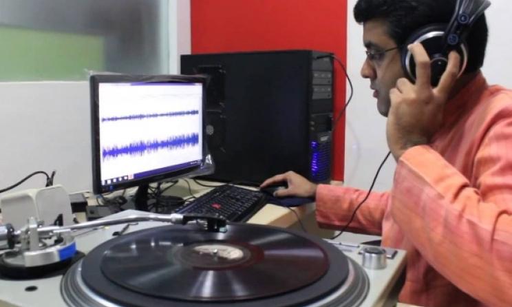 Vikram Sampath digitising LPs for the Archive of Indian Music (AIM). Photo: ethnomusicologyreview.ucla.edu