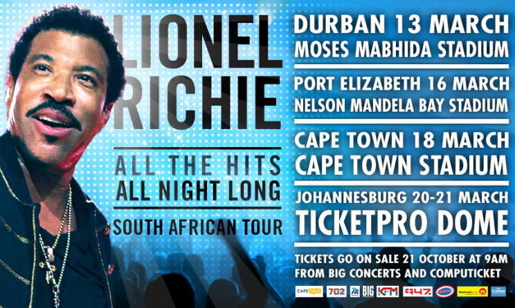 The poster for Lionel Richie's South African tour.