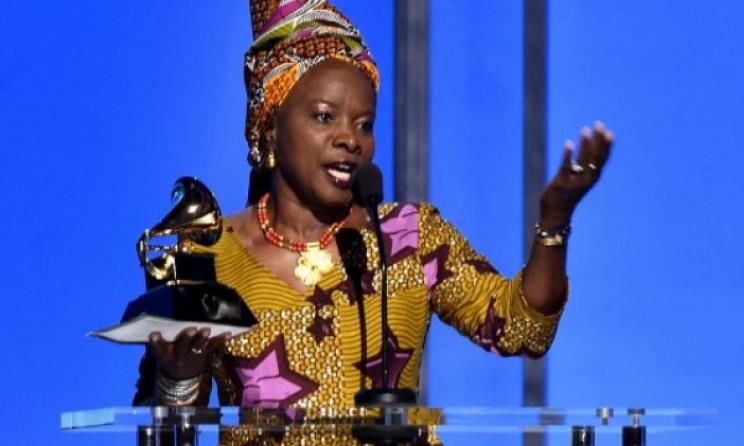 Angelique Kidjo accepts her third Grammy award. Photo: Alberto E. Rodriguez/www.grammy.com