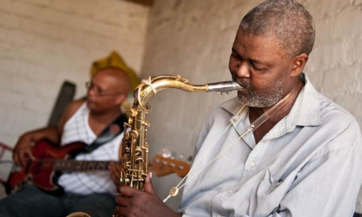 Ezra Ngcukana (tenor sax) and Wesley Rustin (bass) in Gugulethu, Cape Town, South Africa in 2010. Photo: John Edwin Mason