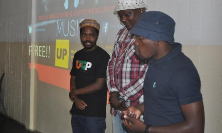 Zambian producers Raydo, Shom C and Paul Kruz at the workshop. Photo: www.lusakahub.net