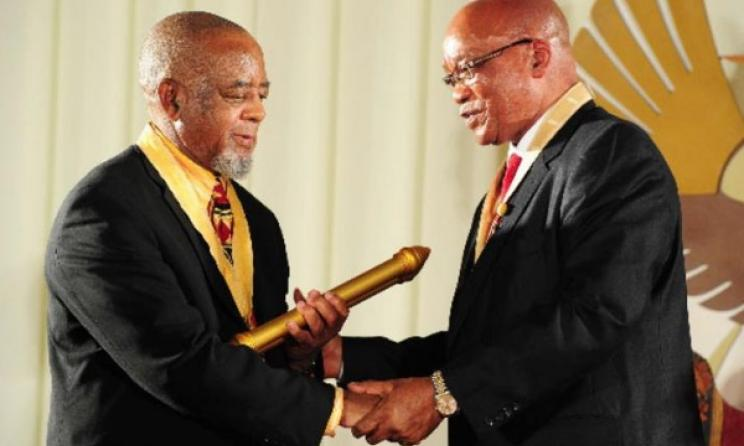 Julian Bahula receives the Presidential Order of Ikhamanga from President Jacob Zuma in 2012. Photo: SA government