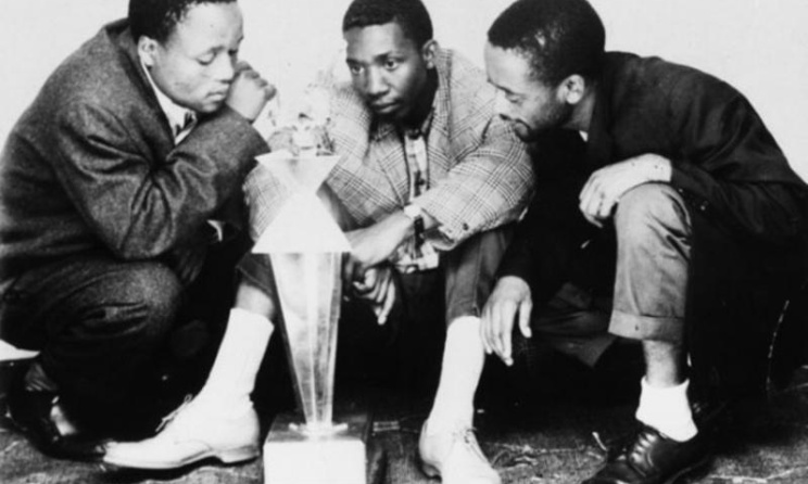 The Malombo Jazzmen - Abbey Cindi, Philip Tabane and Julian Bahula - after the 1964 Castle Lager Jazz Fest. Photo: Ernest Cole