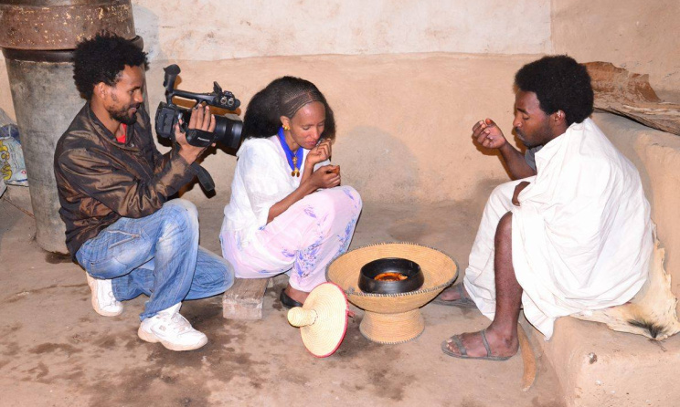 Eritrean crew during a music video production. Photo courtesy of Yonatan Tewelde