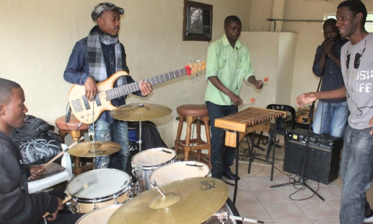 A band rehearses at Larry Mhlanga's Pelepele Arts Academy in Swaziland. Photo: Facebook