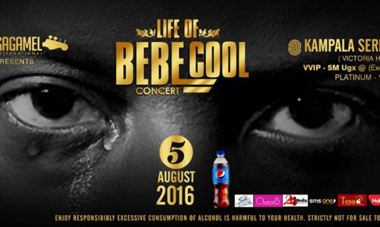 The poster for the upcoming 'Life of Bebe Cool' concert.