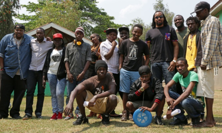 Navio with participants at the boot camp. Photo courtesy of the Hip-hop boot camp
