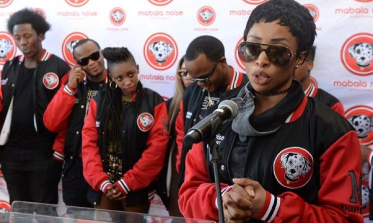 Khanyi Mbau and other recent signings to Mabala Noise. Photo: Trevor Kunene/dailysun.co.za