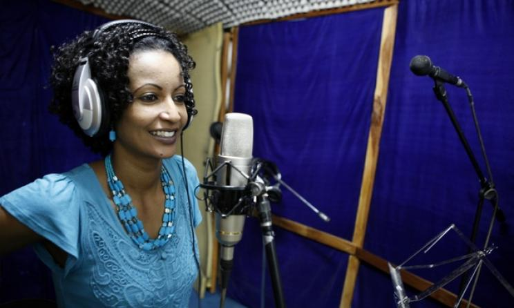 Eritrea's Helen Meles during a recording session. Photo courtesy of Tedros Abraham