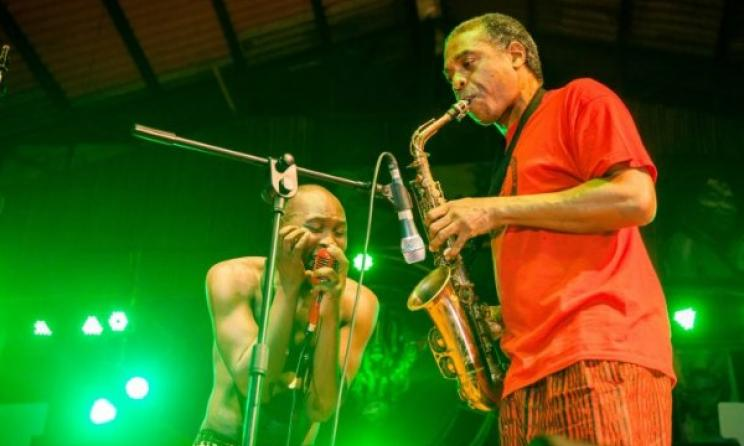 Femi ans Seun Kuti performing at Felabration. Photo: Ayo Akinwande
