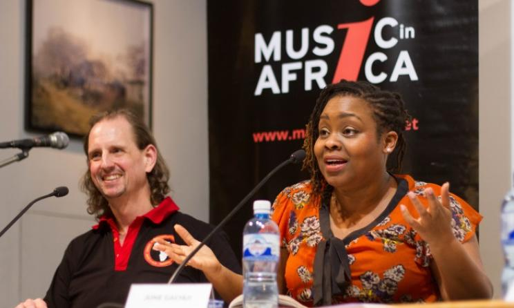 Mike Strano and June Gachui discuss Kenya's music industry. Photo: Julian Manjahi