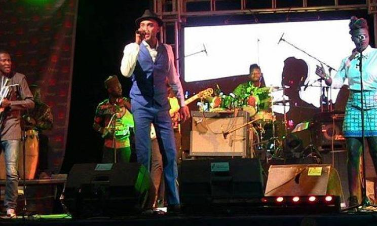 Ade Bantu and the Bantu band performing at the festival