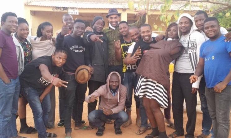 The Bantu band and a member of the Malian border patrol