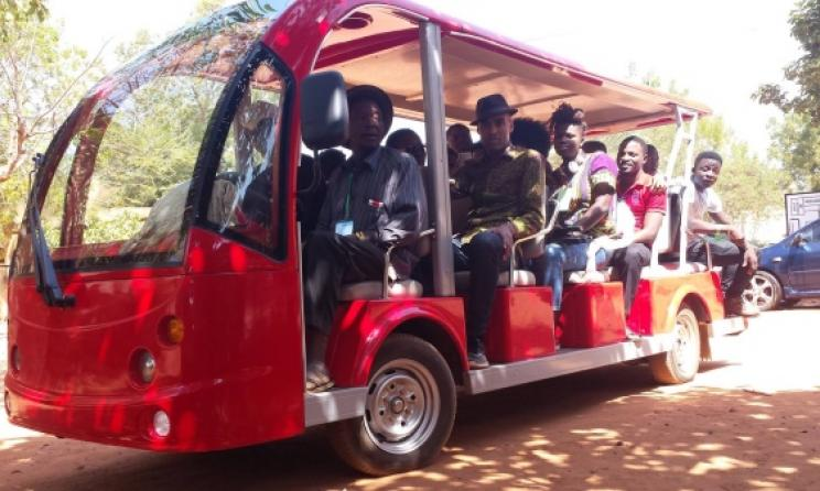 The band transported with the festival's solar-powered vehicles