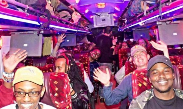 Bus trip to Nyege Nyege Festival in Uganda, 2016. The festival was awarded the travel grant. Photo: Mama Rocks