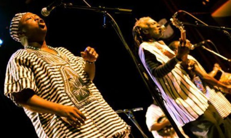 Sierra Leone's Refugee All Stars playing live. Photo: Cumbancha