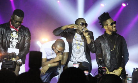Ice Prince on stage with Phyno, Olamide and Yung-L.