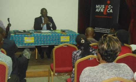 Ribio Nzeza Bunketi Buse, Président de la Fondation Music In Africa, lors de la journée scientifique sur la rumba congolaise.