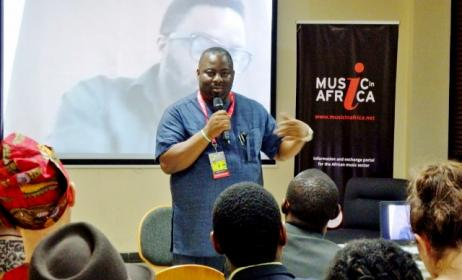 Obi Asika delivers his presentation on the Nigerian creative revolution