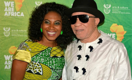 Media personality Penny Labyane with Salif Keita at the launch.