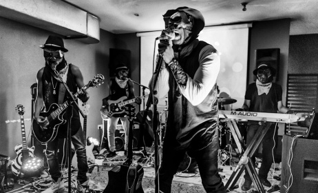 Dark Suburb performing at Champs in Accra. Photo: Colter Harper