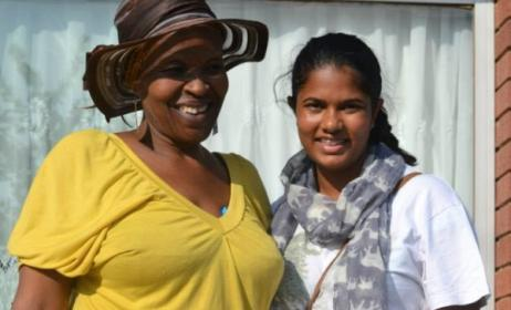 Taynita Harilal (right) with Ntsiki Dura, Dolly Rathebe's only surviving child. Photo: Facebook