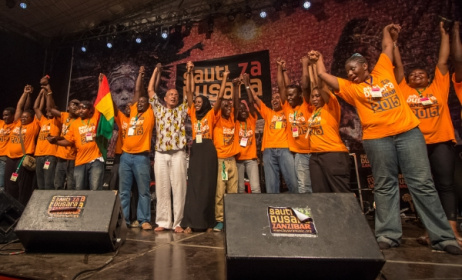 The Sauti za Busara team on stage at this year's festival. Photo: Peter Bennett