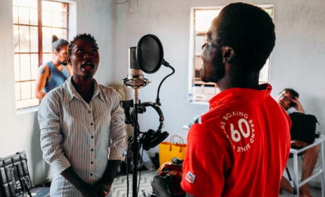 Recording in Malawi for Wired For Sound. Photo: Kim Winter