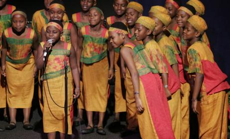 The African Children's choir at a past performance. Photo: www.rickwarrennews.com