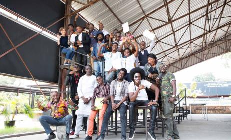 Les participants et les formateurs de l'atelier Music In Africa à Kinshasa (ph) Goethe-Institut/Catherine Trautes
