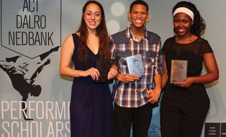2015 Performing Arts Scholarship recipients Carla Smith, Caleb Heynes and Andiswa Mbolekwa. Ph Debbie Yazbek/creativefeel.co.za
