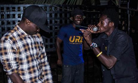 Oki Foever and MC Gold during a rap battle. Photo: Uganda Rap League Facebook
