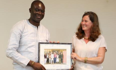 Henrike Grohs with Music In Africa Foundation chairman Ribio Nzeza Bunketi Buse at the third AGM in Cameroon in 2015.