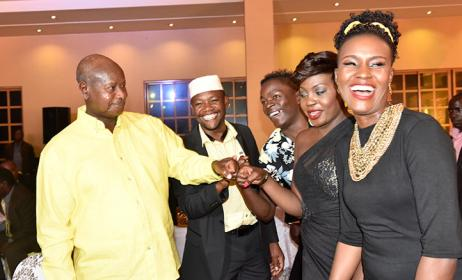 Ugandan Musicians with President Museveni Photo: www.obserever.ug