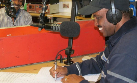 Eritrean Voices show producers in studio. Photo: www.thecitizen.org.au