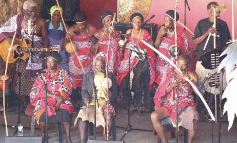 Bashayi Bengoma perform at Swaziland's Bushfire festival in 2015. Photo: Dave Durbach / Music In Africa
