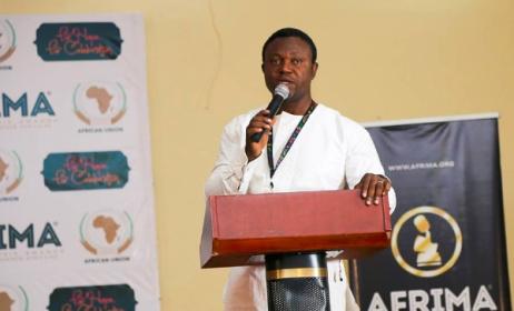 Efe Omoregbe speaking at the 2016 AFRIMA launch. Photo: AFRIMA
