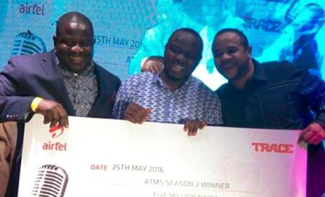 Ezehike Ehiedu, middle, has emerged winner of the second season of the Airtel Trace Music Star for Nigeria