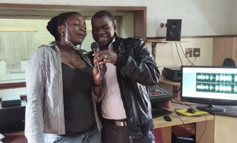 Zambian singer Maureen Lilanda at ZAMCOM Studios. Photo: UNICEF Zambia / Facebook