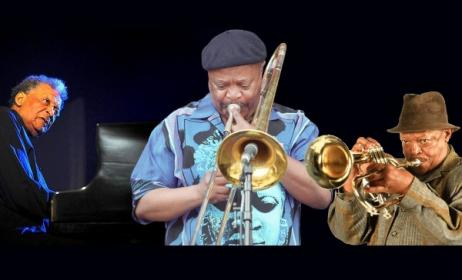 Surviving members of the Jazz Epistles: Abdullah Ibrahim, Jonas Gwangwa and Hugh Masekela. Photo: www.africanindy.com