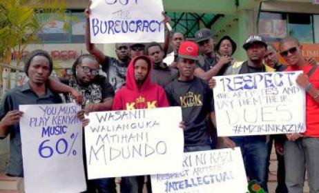 Kenya artists protesting. Photo: www.msupa.com
