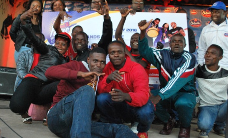 Murinye Express celebrate after receiving their $1000 cheque. Photo: Innocent Tinashe Mutero